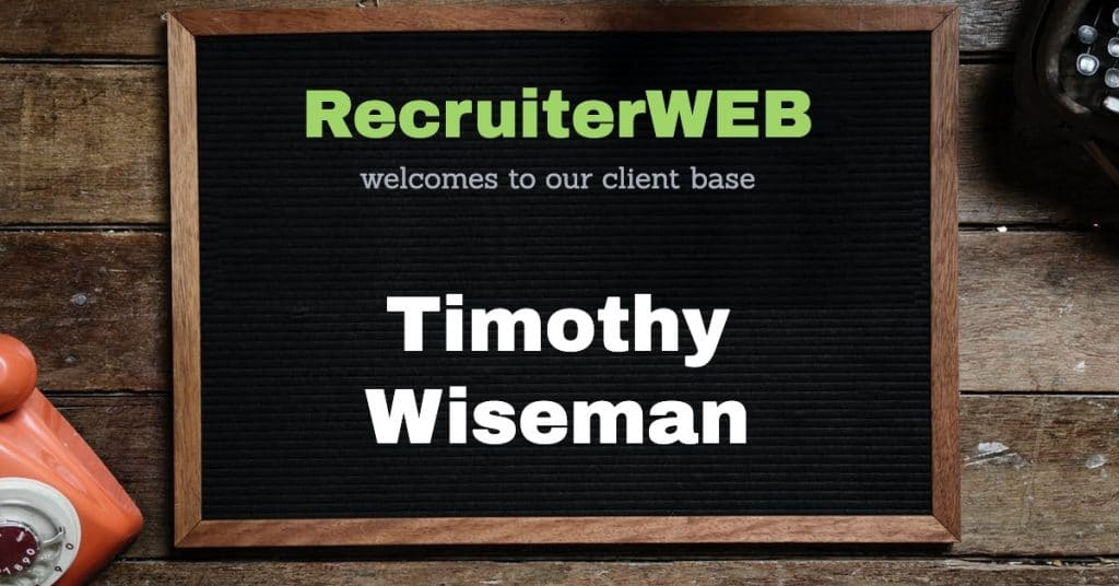 Recrutiment website for Timothy Wiseman